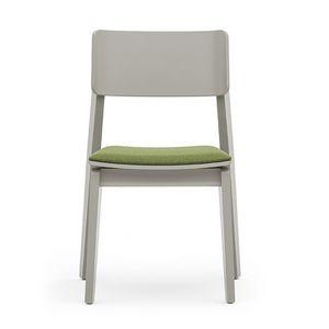 Offset 02812, Vielseitige Holzstuhl mit gepolstertem Sitz