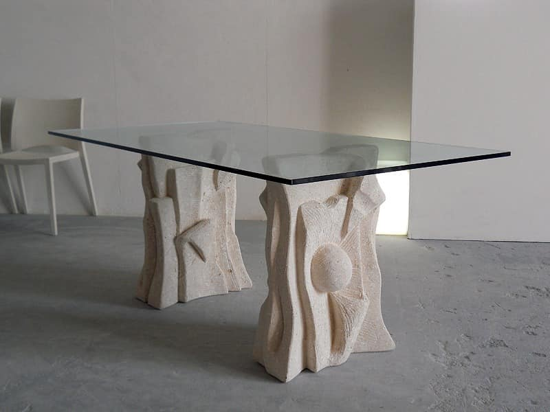 Archivio, Tisch aus Stein mit Spitze aus Glas, modernen Stil gemacht