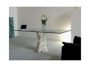 Mezzaluna cherry, Tisch mit Glasplatte und Struktur aus Stein