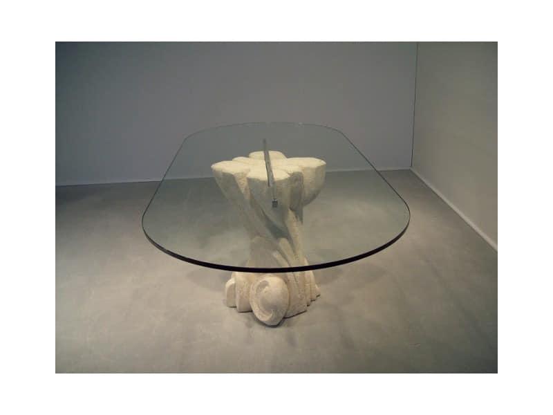Nuoveau, Ovalen Tisch mit Tischplatte aus Glas, Sockel aus Stein