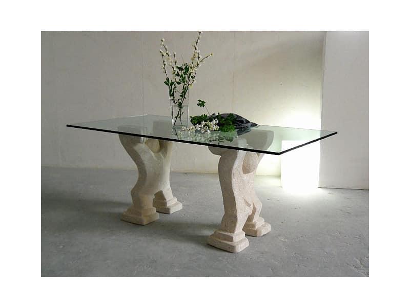 Omini, Tisch für zu Hause oder im Büro mit zwei Basen in Stein gemeißelt
