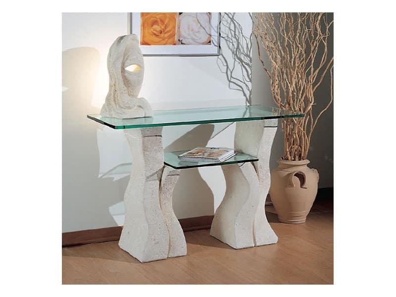 Set up, Steintisch mit zwei Glasböden