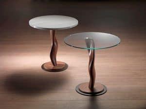 TL42 Pistillo  kleiner Tisch, Tisch aus Massivholz mit Glasplatte für Wohnzimmer