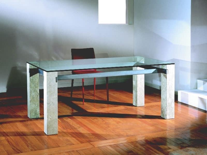 Ulisse, Rechteckigen Tisch mit Steinstruktur, für Haus und Büro
