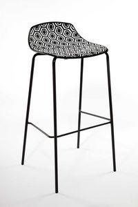 Alhambra Stool 67, Barhocker aus lackiertem Stahlrohr, Polymersitz