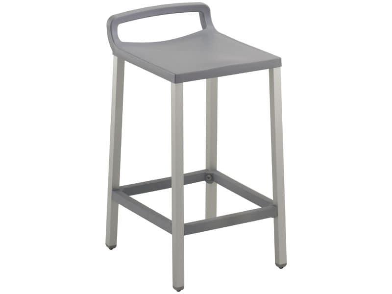 Ofer 60, Moderne Stuhl aus Aluminium und Polypropylen, für Kneipen