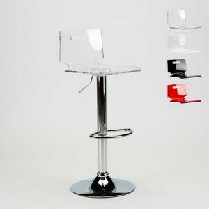 Barhocker und Chromstahl Küche SAN JOSE Modernes Design - SGA800SNJ, Hocker mit transparenter Kunststoffschale