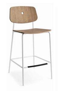 Olivia-SG, Moderner Hocker aus Metall mit Holzsitz