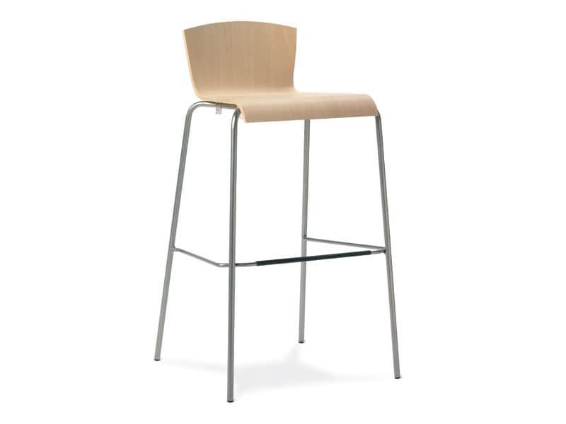 Ugo SG, Metallhocker, Holzschale, für Bars und Küchen