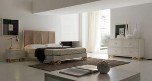 Allegra Fuß geschnitzt, Schlafzimmer mit Bett mit gepolstertem Kopfteil