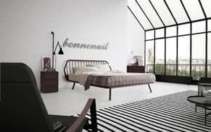 Trama, Doppelbett, minimalistisches Design, mit Holzrahmen