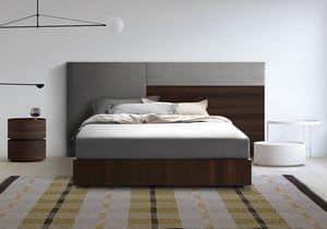 Boiserie comp.04, Gepolstert und Kopfteil aus Holz, für moderne Zimmer
