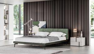 GINEVRA, Elegantes Bett mit gepolstertem Kopfteil