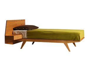 Giò 2884, Holzbett mit integriertem Nachttisch