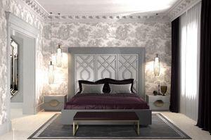 Intrigue Bett mit vertikalen Platten 3, Bett mit Kopfteil mit 3 Platten, mit geometrischen Motiven