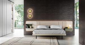 MILANO, Bett mit im Kopfteil integrierten Nachttischen