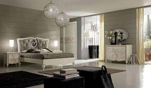 New Age Art. NA015, Bett mit eleganter Dekoration am Kopfteil