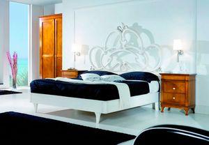 Sofia, Bett aus weiß lackiertem Holz
