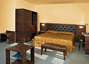 Collezione Class, Schlafzimmermöbel zugeschnitten, Ebenholz, für Hotelzimmer