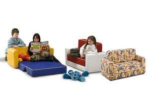 PISOLO, Schlafcouch für Kinder, mit Kunstleder oder Stoff, für den Kindergarten