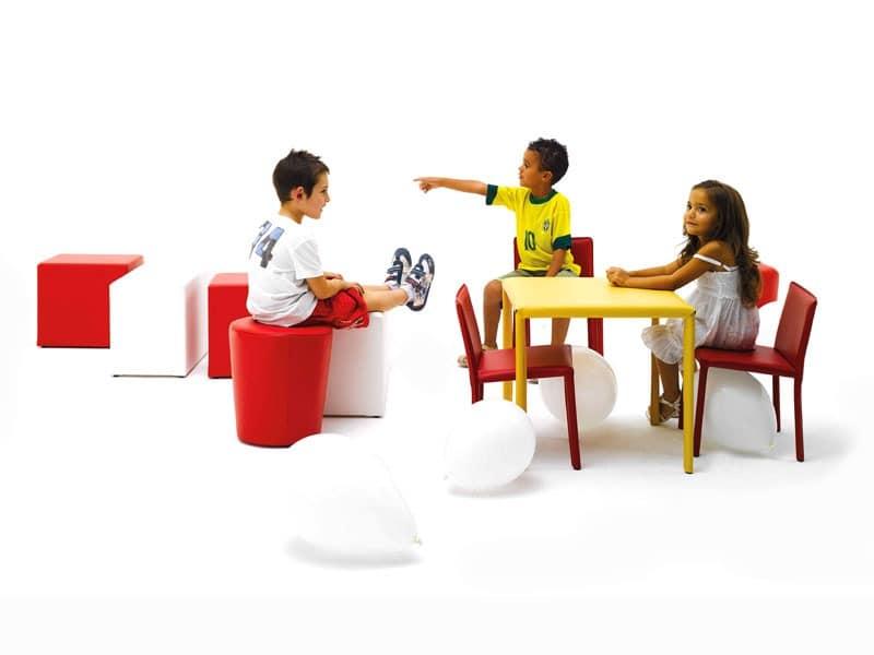 Junior, Kleiner Tisch, mit Leder bezogen, für Kinder Kantine
