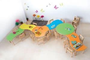 ONDA, Modularer Tisch für Kinder, abgerundete Kanten und Ecken, verschiedenen Farben und Formen, für Kindergärten und Kindergärten