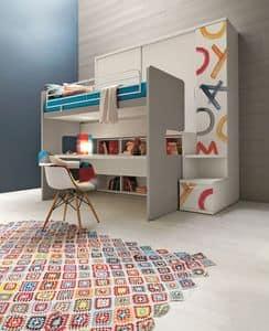 Comp. New 154, Kleiderschrank mit integriertem Etagenbett, mit Schreibtisch, im Digitaldruck dekoriert