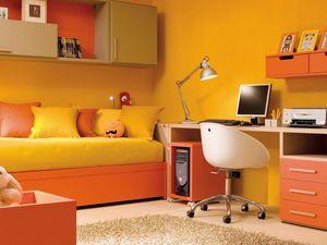 Compact 7003, Kid Schlafzimmer mit Bett, Schreibtisch und Schrankwänden