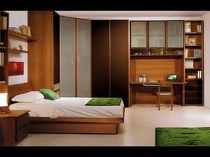 Jungen Zimmer 01, Schlafzimmer für Kinder, mit grünen Materialien
