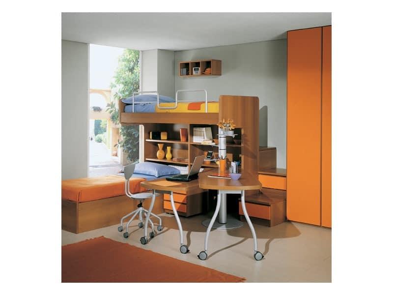 Kids Bedroom 1, Schlafzimmer mit Etagenbett, Regale und Schubladen, Kleiderschrank