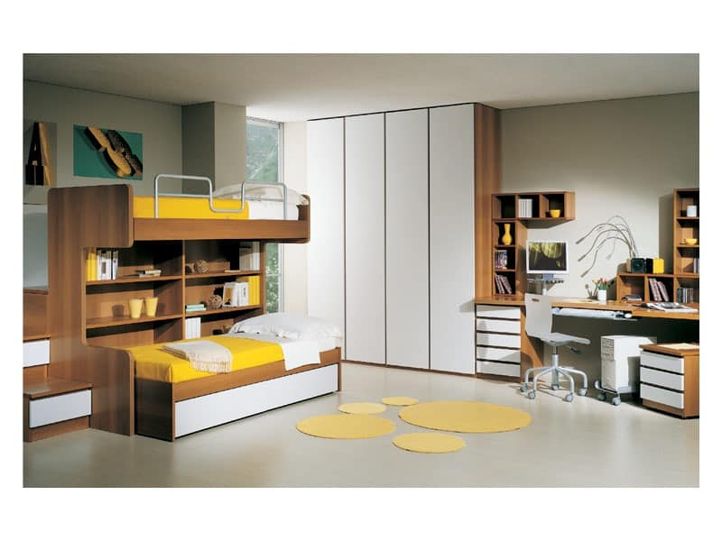 Kids Bedroom 2, Möbel für Kinderzimmer mit Etagenbett, Schreibtisch und Kleiderschrank