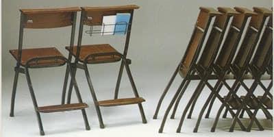 1273 R, Sessions Metall mit Sitz und Rückenlehne in Buche, für Kirchen