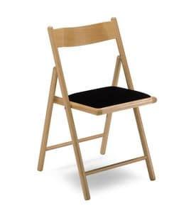 187, Klappstuhl, mit gepolstertem Sitz, in Buchenholz