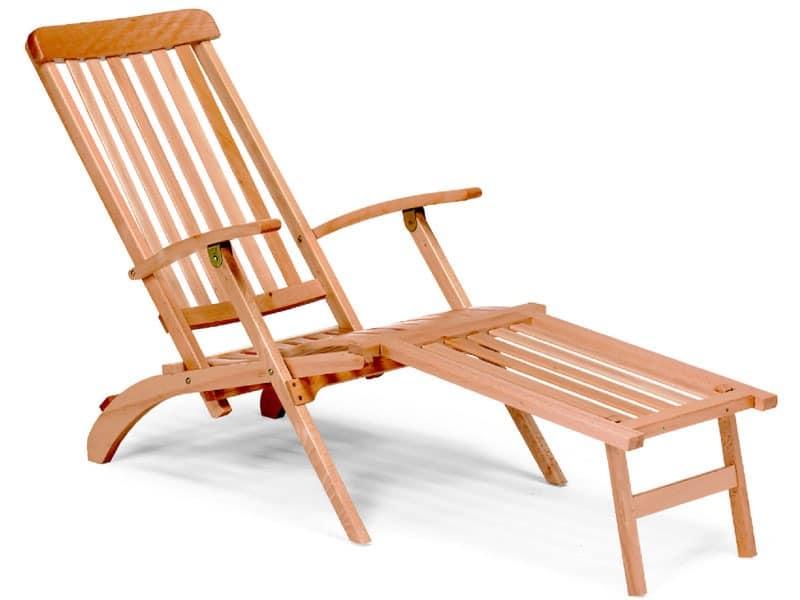 Chaise longue, Liegestuhl aus Holz für Garten
