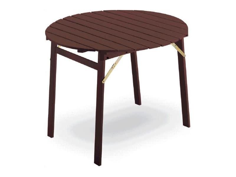 Tavolo P round, Tabelle mit Klapprahmen, runden oben, in Buchenholz