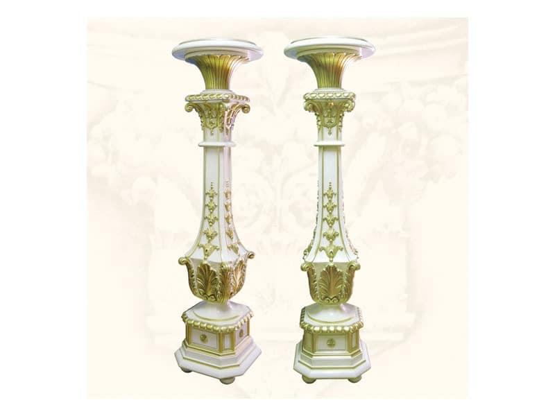 Columns art. 314, Säulen aus handgeschnitzte Holz, Veredelungen in Elfenbein und Gold
