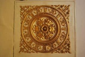DECKENDEKORATIVE PANEL ART. AC 0032, Goldene dekorative Verkleidung, für Luxuxlandhäuser