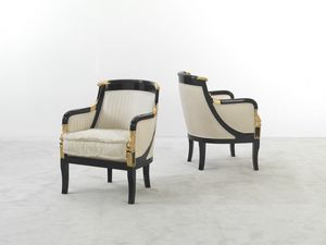 104, Imperialer Sessel aus gestreiftem Stoff