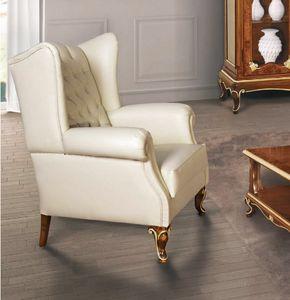 Art. 3054, Bergere Sessel aus weißem Leder