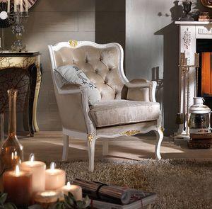 Bergere Sessel, Lackierter Sessel mit goldenen Details