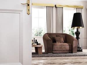 Bilbao Sessel, Gepolsterte Sessel aus Holz, klassisch modernen Stil