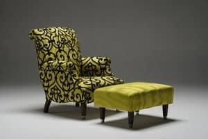 Giulio, Klassischer Sessel mit abnehmbarem Stoffbezug
