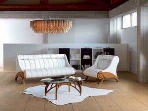 PO21 Contemporary Sessel, Gepolsterte verstellbare Sessel, Holzkonstruktion, modern