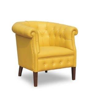 Rebecca, Sessel mit Lederbezug in der Classic- Umgebung geeignet