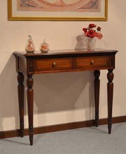 Alice Konsole, Luxury klassischen Konsolen aus Holz, mit 2 Schubladen