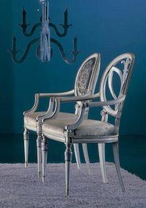 120PI, Stuhl mit geschnitzten Armlehnen