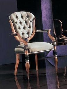 280P capitonnè, Klassischer Stuhl mit Armlehnen