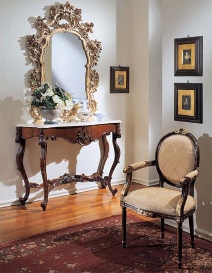 3200 ARMACHIR LUIGI XVI, Hand geschnitzten Stuhl, golden Nussbaum