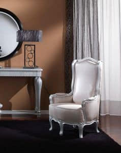 717 SESSEL, Klassischer Sessel für Wohnzimmer, Blattsilber Verarbeitung