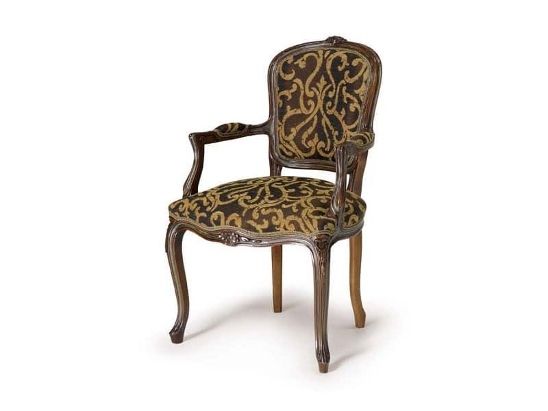 Art.109 armchair, Sessel aus Holz, Stil Louis XV